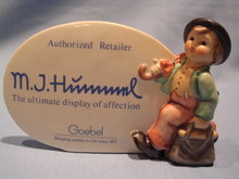 GOEBEL HUMMEL AUTHORIZED DEALER SIGN #187A  WITH THE WANDERER  FIGURINE, SIGNED