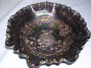 VINTAGE IMPERIAL PURPLE BLUE CARNIVAL GLASS WINDMILL  RUFFLED BOWL #514