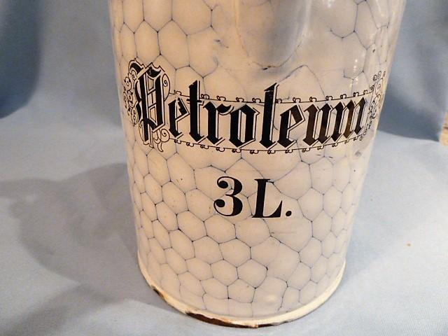 VERY RARE ANTIQUE GERMAN GRANITWARE GRANITE ENAMEL CHICKEN WIRE PETROLEUM CAN WITH HANDLE