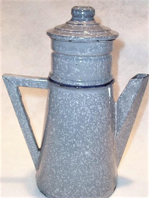 Antique 4 Piece Enamel Graniteware Gray Grey  French Coffee Pot
