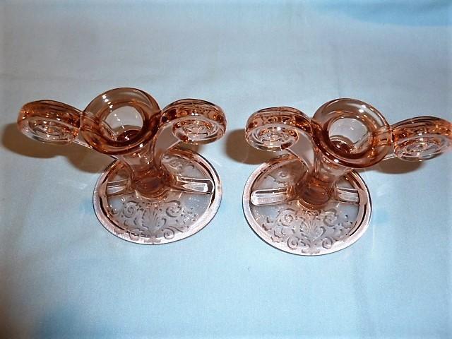 PAIR ELEGANT FOSTORIA VERSAILLES PINK BLOWN GLASS SCROLL HANDLE CANDLESTICKS