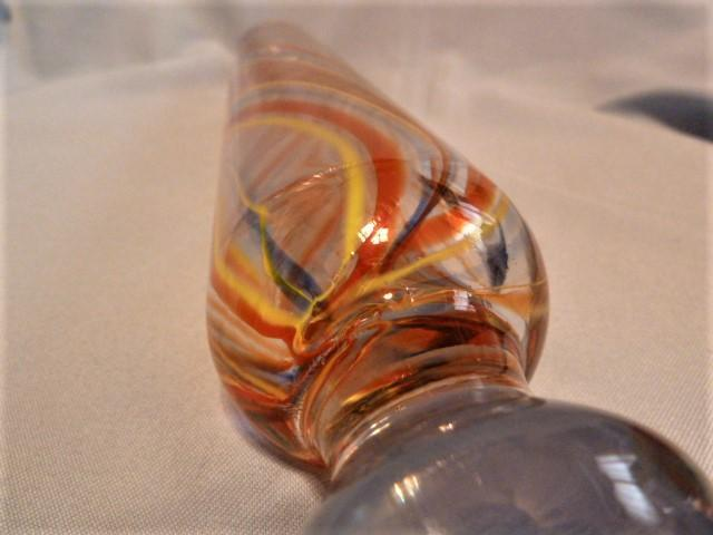 Antique Hand Blown Art Glass Rolling Pin with Red, Yellow and Green Swirls
