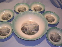 THREE CROWN GERMAN 7 PC BERRY BOWL SET  CASTLE ON RIVER