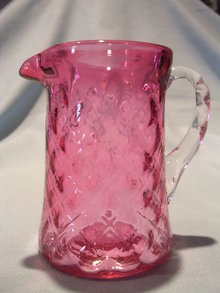 VINTAGE CRANBERRY QUILTED GLASS CREAMER