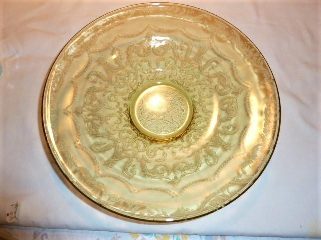 VINTAGE MADRID AMBER DEPRESSION GLASS LOW CONSOLE BOWL BY FEDERIAL GLASS