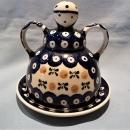 VINTAGE POLISH POTTERY CHEESE LADY 2 PC NATURE PATTERN MINT