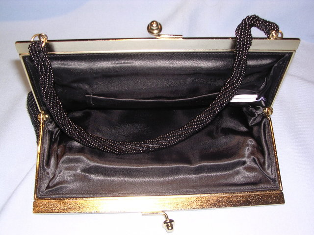 ELEGANT  1930's BLACK BEADED EVENING PURSE OR BAG