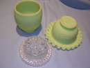 FENTON PERSIAN MEDALION GREEN SATIN GLASS THREE PIECE FAIRY LAMP