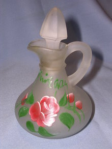 OLD SATIN GLASS ENAMEL PAINTED  ROSE VINEGAR CRUET