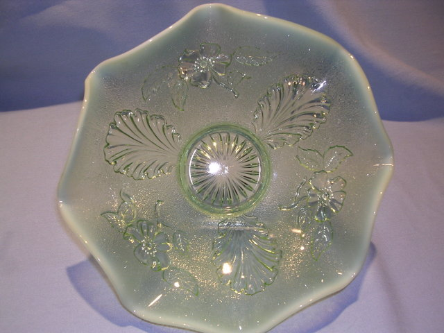 NORTHWOOD BLOSSOMS AND PALMS OPALESCENT AQUA  BOWL