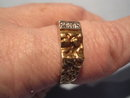 VINTAGE DIAMOND AND GOLD NUGGET RING 10K