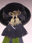 BAVARIAN HAT WALL HANGING BLACK AND GREEN VELVET