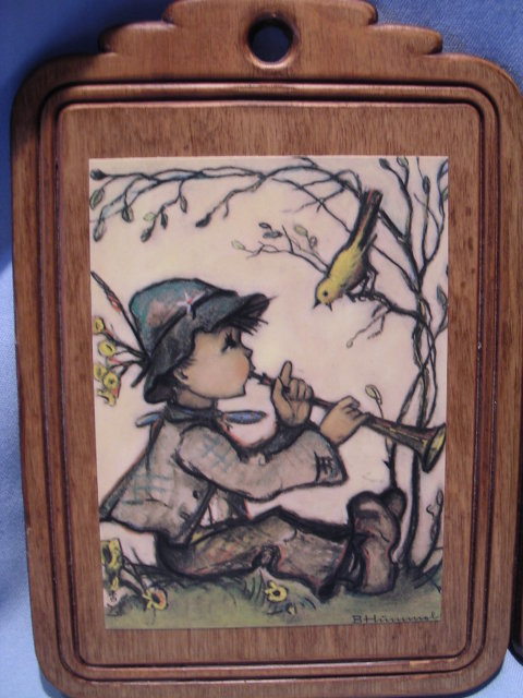 PAIR  B. HUMMEL BOY AND GIRL PRINTS ON WOOD PLAQUES WALL HANGING