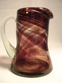 VINTAGE PURPLE TO CLEAR GLASS PITCHER
