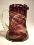 VINTAGE PURPLE /Brown TO CLEAR GLASS PITCHER