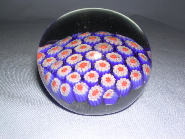 GLASS BALL PAPER WEIGHT WITH FLORAL DESIGN