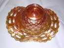 FENTON OPEN EDGE BASKET MARIGOLD CARNIVAL GLASS BOWL