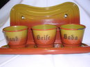 VINTAGE EUROPEAN  RED TO GOLD  GRANITEWARE SAND, SODA,  SEIFE, LAUNDRY SET