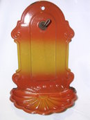VINTAGE EUROPEAN  RED TO GOLD  WALL HANGING SOAP DISH AND CUP HOLDER