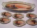 NORITAKE  LAKE SCENE 7 PIECE CELERY DISH AND MATCHING SALTS