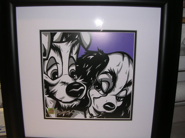 PUPPY LOVE, FROM  DISNEY'S LADY AND THE TRAMP BY ALLISON LEFCORT LITHO ON PAPER FRAMED AND MATTED