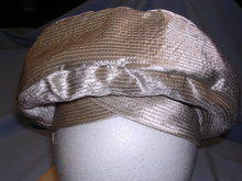 VINTAGE TOQUE TURBAN STYLE BEIGE SATIN LADIES HAT BY MR RICKY