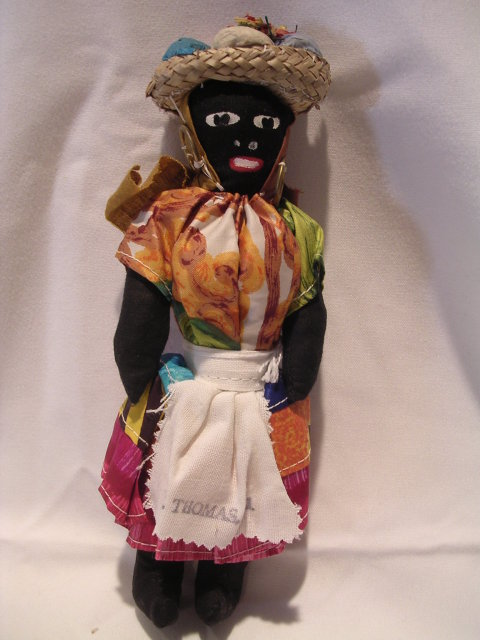 CLOTH BLACK SOUVENIR DOLL ST THOMAS
