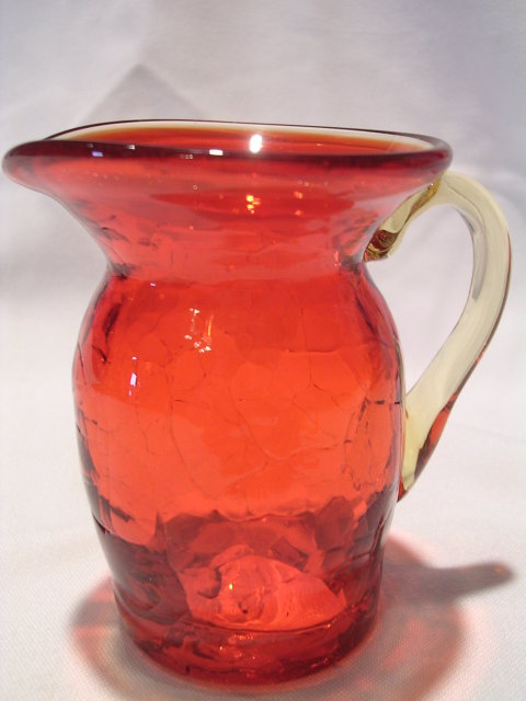 AMBERINA RED TO YELLOW CRACKLE GLASS PITCHER
