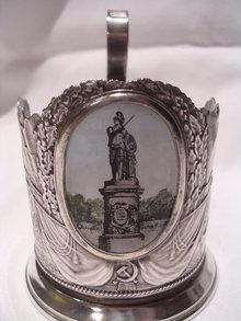 VINTAGE RUSSIAN SOVIET PODSTAKANNIK TEA GLASS HOLDER ENAMEL HISTORIC MONUMENT