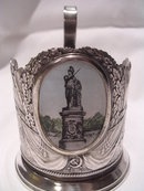 VINTAGE RUSSIAN SOIVIET TEA GLASS HOLDER ENAMEL HISTORIC MONUMENT