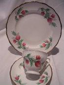 ROYAL MALVERN BONE CHINA PINK THISTLE FLOWER 3 PIECE CUP, SAUCER AND DESERT DISH  SET