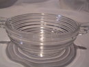 2 CRYSTAL MANHATTAN  HORIZONTAL RIBBED 4 1/2 SAUCE BOWLS WITH HANDLE