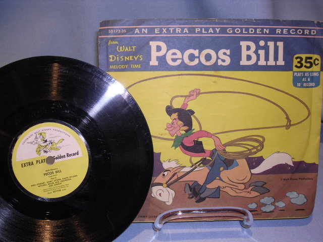 WALT DISNEY'S  PECOS BILL 78RPM   EXTRA PLAY GOLDEN RECORD WITH  ORIG SLEEVE 1953    SD172:35