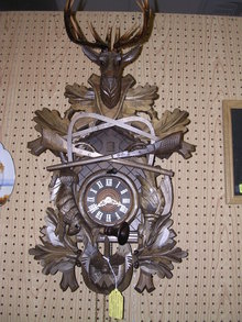 VINTAGE GERMAN  BLACK FORREST HUNTERS CUCKOO  LARGE WALL CLOCK