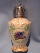 ANTIQUE FIELDING & CO CROWN DEVON FESTOON SUGAR SHAKER MUFFINEER  WITH SILVER PLATE  LID