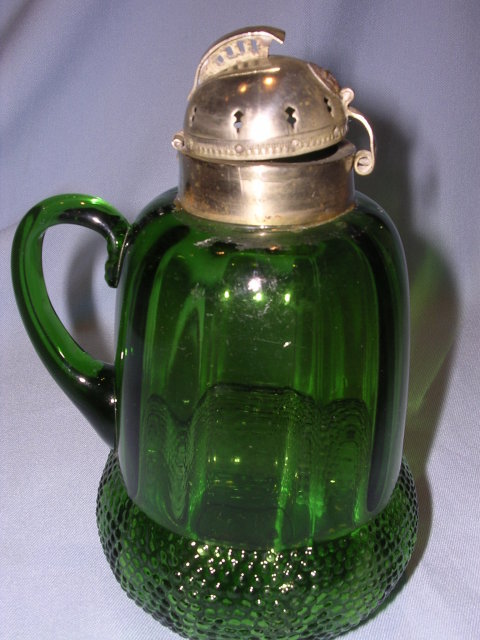 ANTIQUE  ACORN GREEN PANEL GLASS SYRUP JUG PITCHER WITH HELMET LID