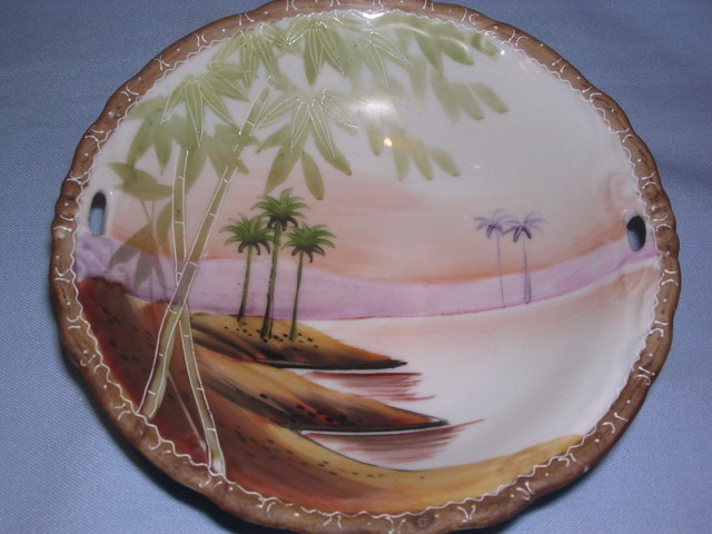 NIPPON  DESERT  OASIS TORII  OPEN HANDLE BOWL c. 1910