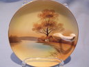 NORITAKE TREE IN MEADOW SCENE HANDLED LEMON DISH #27 RED MARK