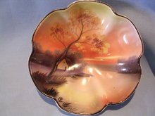 NORITAKE TREE IN THE MEADOW  FOOTED SCALLOPED DISH  #27 RED MARK