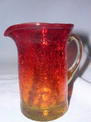 AMBERINA CRACKLE GLASS PITCHER