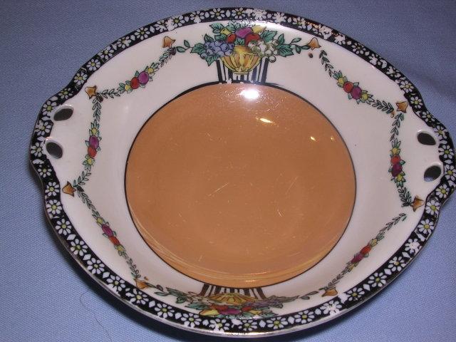 NORITAKE FLORAL FRUIT LUSTERWARE HANDLED BOWL