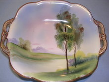 NORITAKE BLUE  TREE AND WATER SCENE MORIAGE HANDLED SQUARE DISH GREEN #27 MARK
