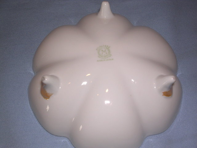 NORITAKE FOOTED LUSTERWARE SCALLOPED BOWL DISH