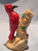VINTAGE WOODPECKER ON A TREE FIGURINE JAPAN