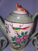 17  PIECE NIPPON TEA SET WITH BIRD FINIALS HAND PAINTED JAPAN