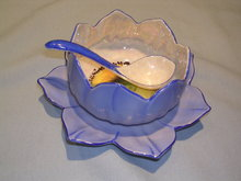 NORITAKE 3 PIECE SAUCE OR MAYO SET LOTUS BLOSSOM BLUE RED MARK #27