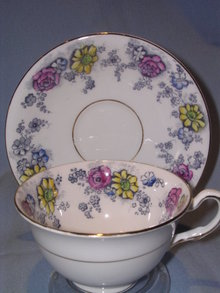 TAYLOR &KENT LTD ENGLISH BONE CHINA CUP & SAUCER MULT-FLORAL
