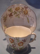 TAYLOR &KENT LTD ENGLISH BONE CHINA FLUTED  CUP & SAUCER MULT-FLORAL