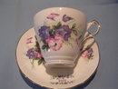 REGENCY ENGLISH BONE CHINA  JULY VIOLETS CUP & SAUCER