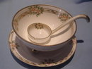 EARLY NIPPON NORITAKE 3 PC MAYO SAUCE DISH SET FLORAL W/GOLD